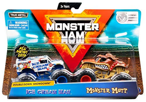 Monster Jam Official Ice Cream Man vs Monster Mutt Die Cast Monster Trucks - 1/64 Scale, 2pk