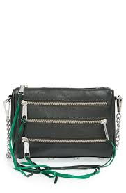 the rich forest green color of this rebecca minkoff crossbody bag