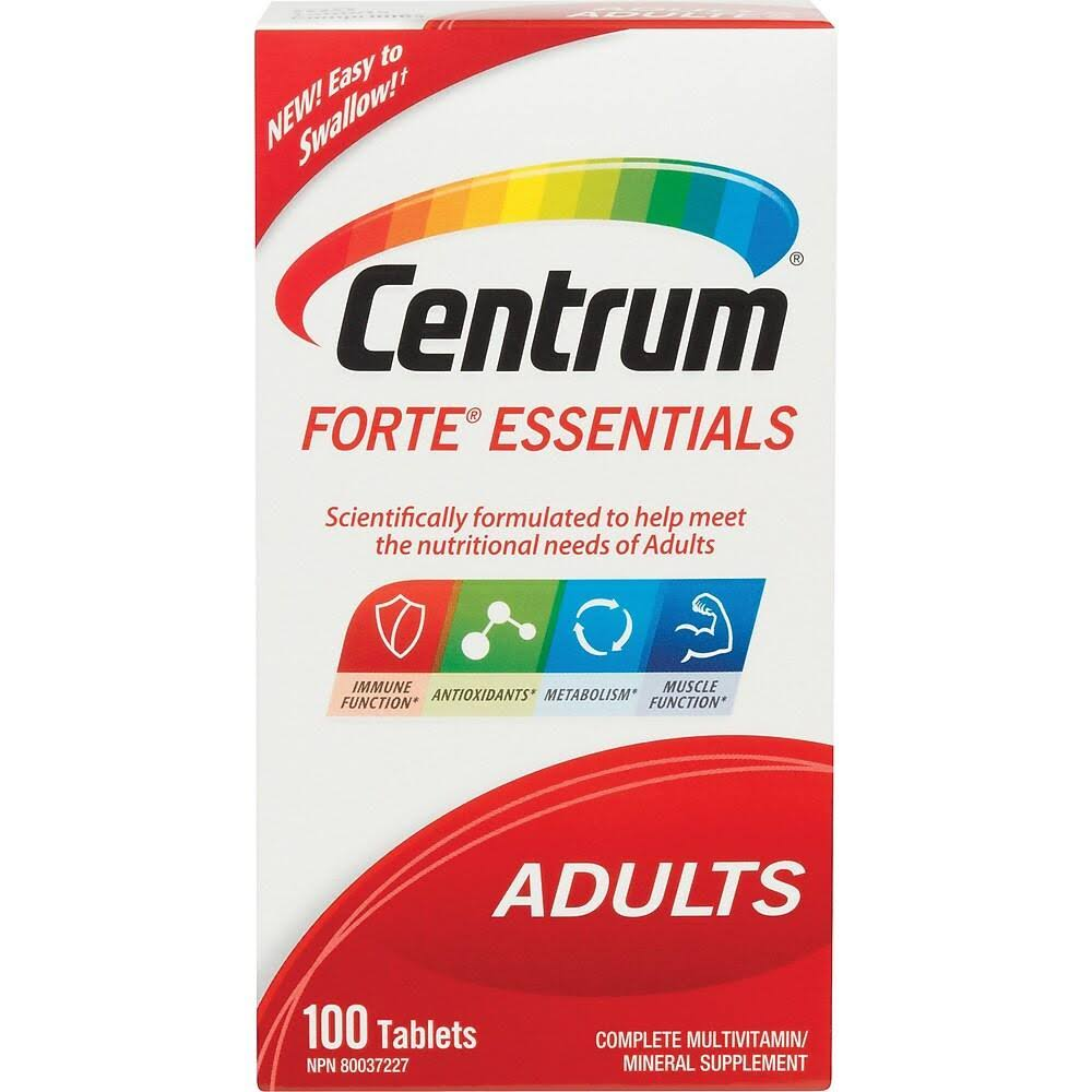 Centrum Forte Essentials Complete Multivitamin and Mineral Supplement - 100ct