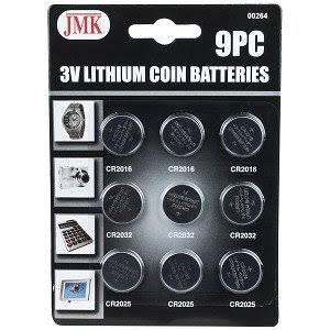 JMK Lithium 3V Button Cell Batteries - 9ct