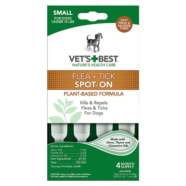 Vet's Best Flea & Tick Drops 4Ct-Small Dogs Under 15lbs