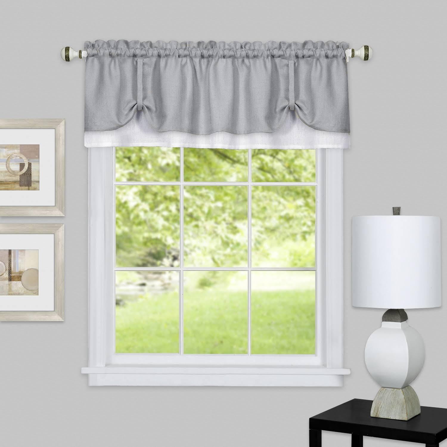 Achim Darcy Window Curtain Valance 58x14 - Grey/White