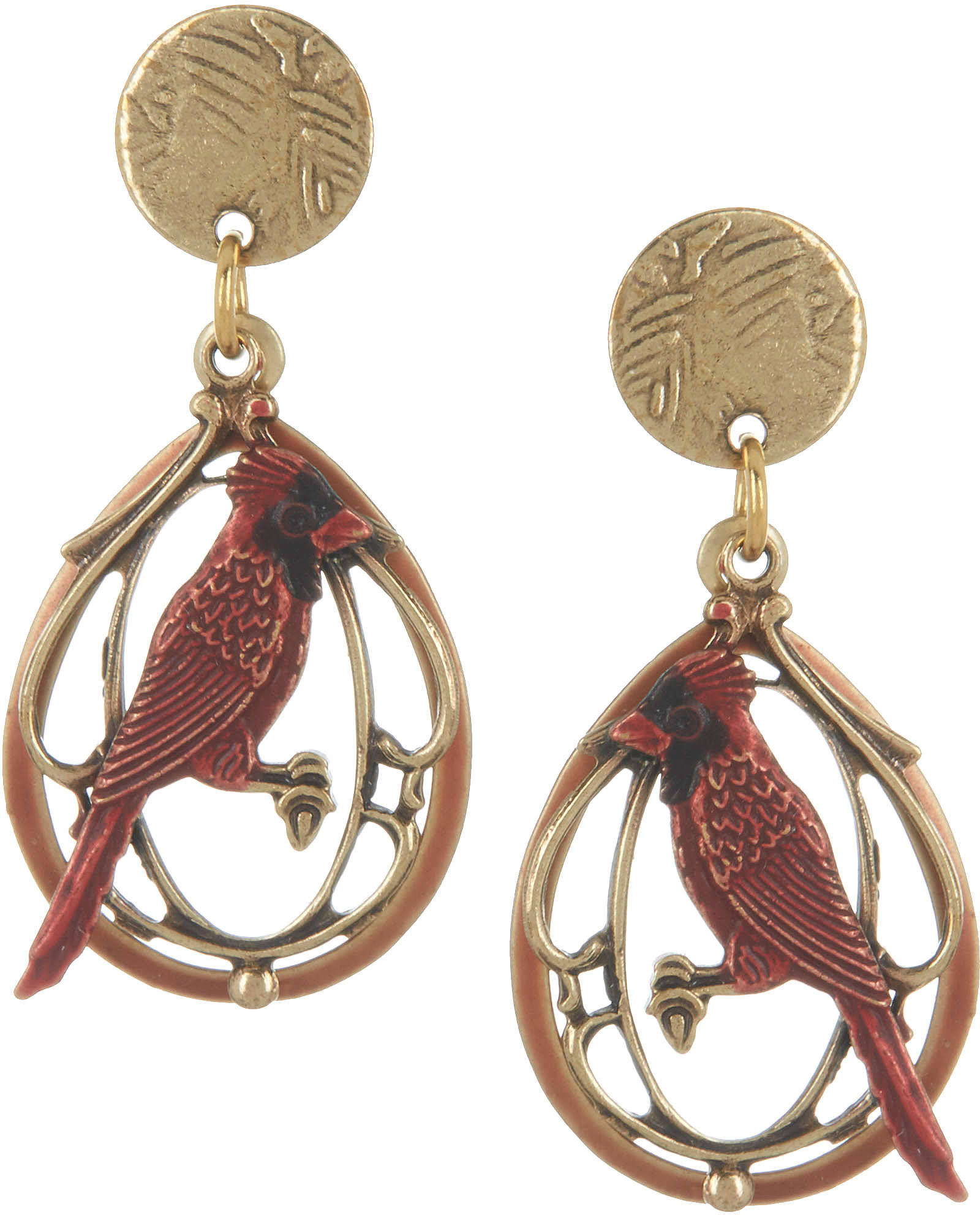 Silver Forest Cardinal Layered Earrings - One Size, Gold Tone, Red