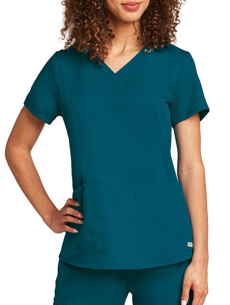 Grey's Anatomy Womens Two Pocket V Neck Scrub Top - Bahama Blue, XX-Large