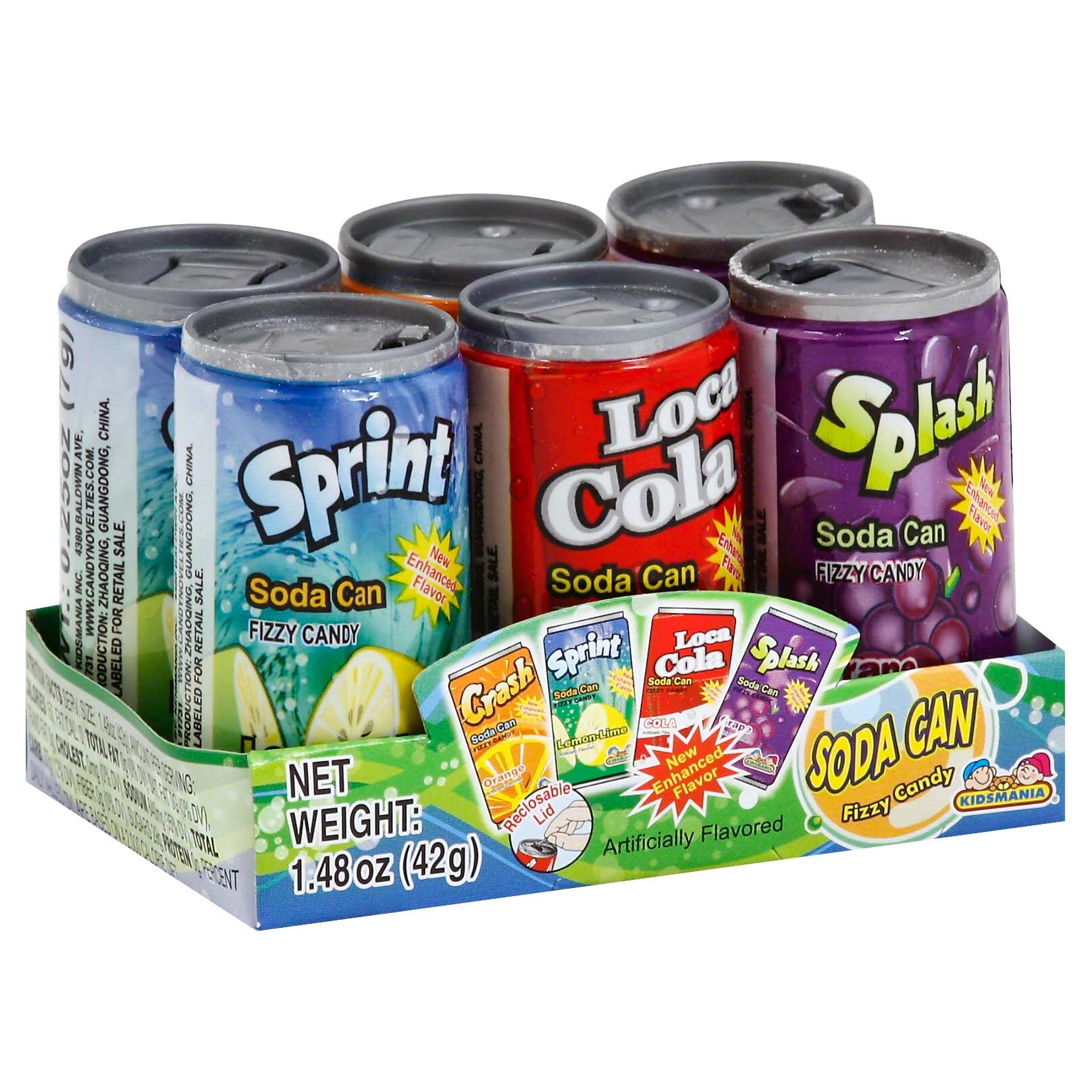 Soda Can Fizzy Candy Variety Pack - 6 pack
