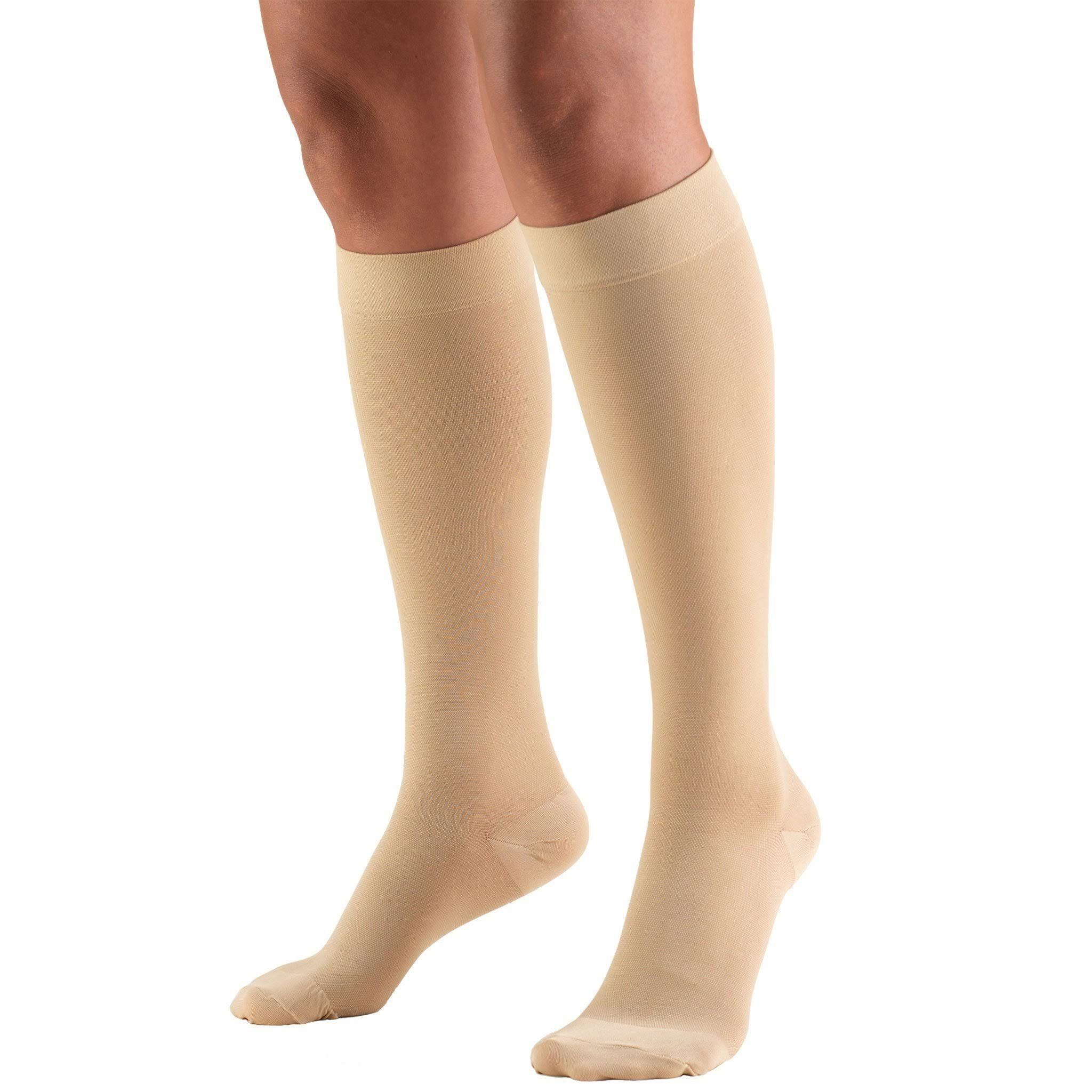 Truform Closed Toe Knee High Compression Stockings - Beige, Small, 20-30 mmHg