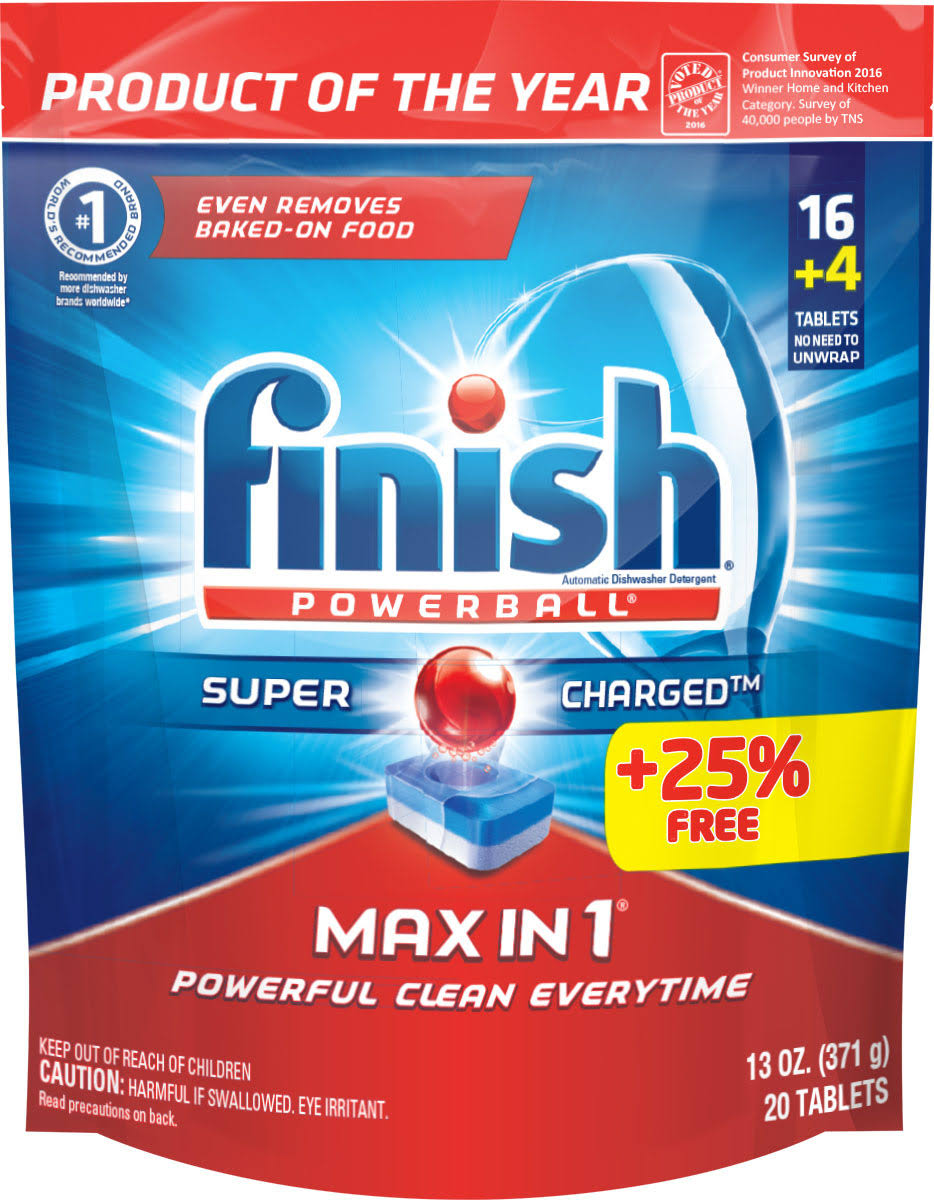 Finish Max in 1 Powerball Dishwasher Detergent Tablets, 16 ct