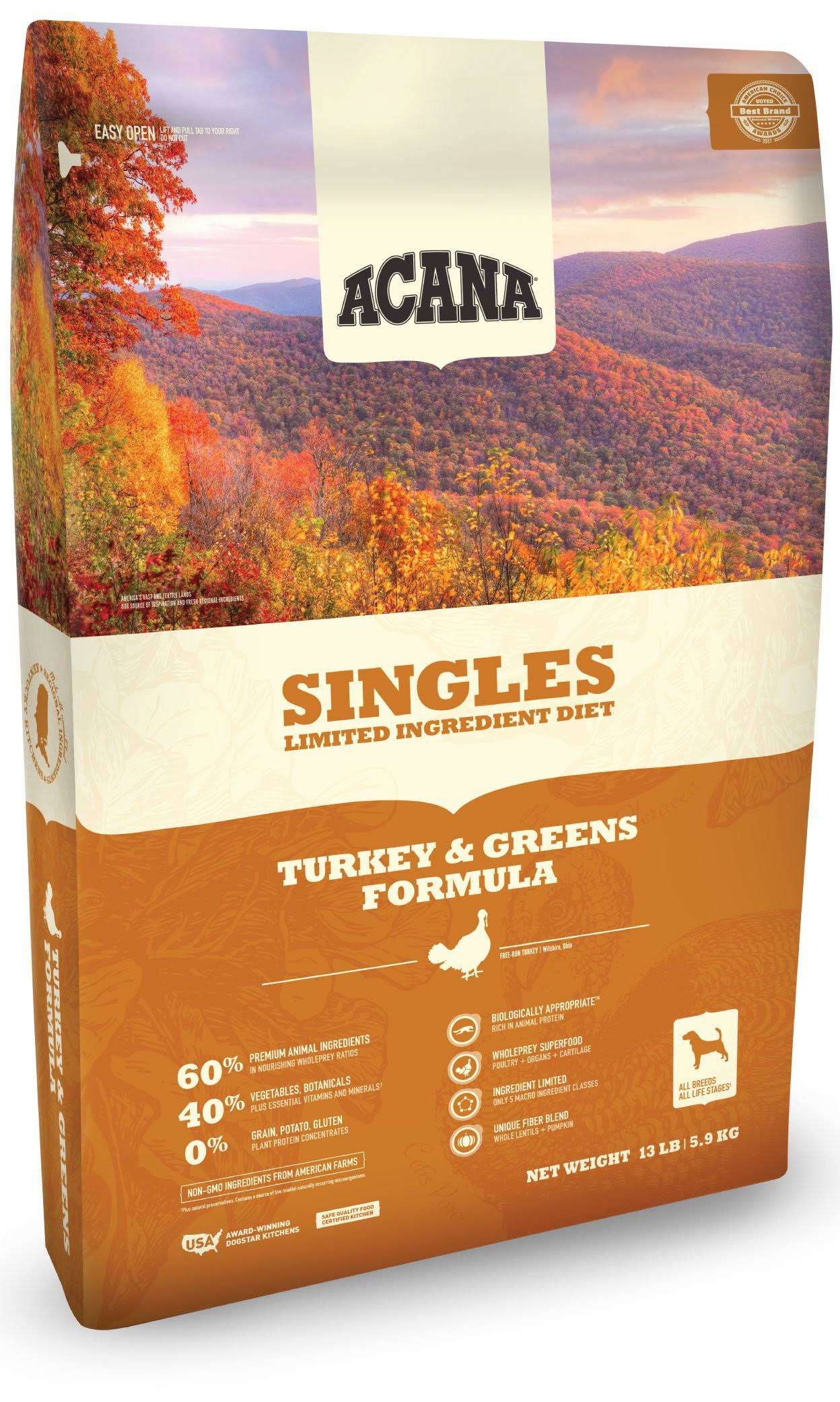 ACANA Singles Turkey & Greens Dry Dog Food 13 lbs