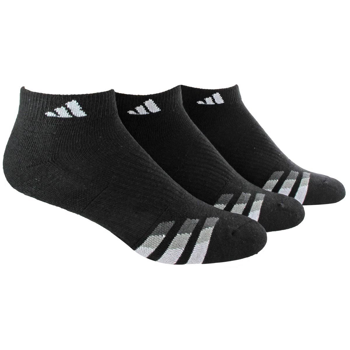 Adidas Men's 3-Pack Performance Low-Cut Socks, Size 6-12, Black
