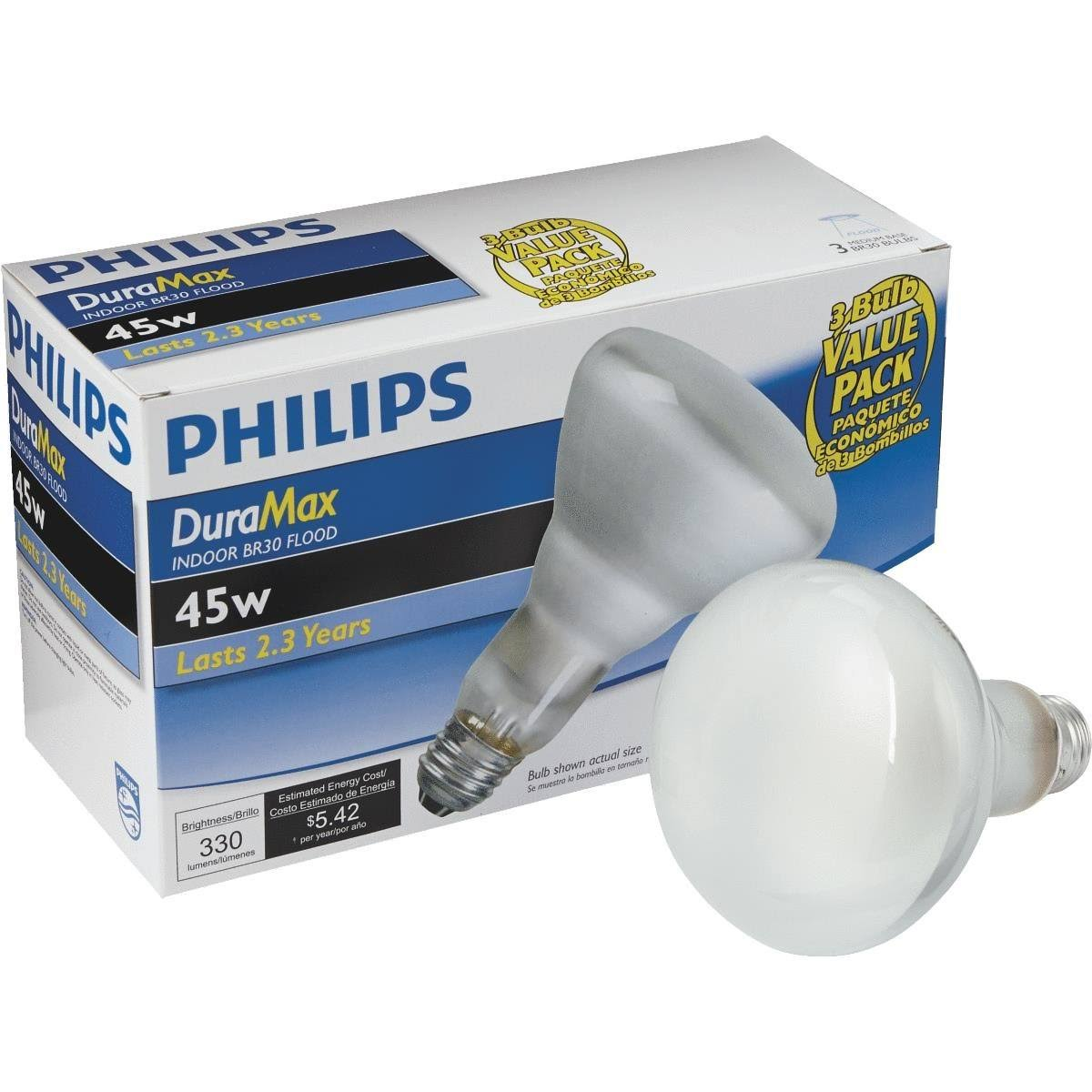 Philips Duramax Incandescent Flood Light Bulb - 45W, 3pk