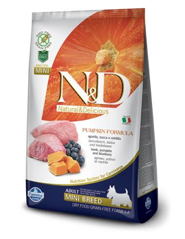 N and D GF Pumpkin Adult Mini Lamb and Blueberry Dog Food - 7kg