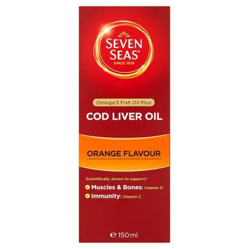 Seven Seas Omega-3 Fish Oil+ Cod Liver Oil - Orange Flavour, 150ml