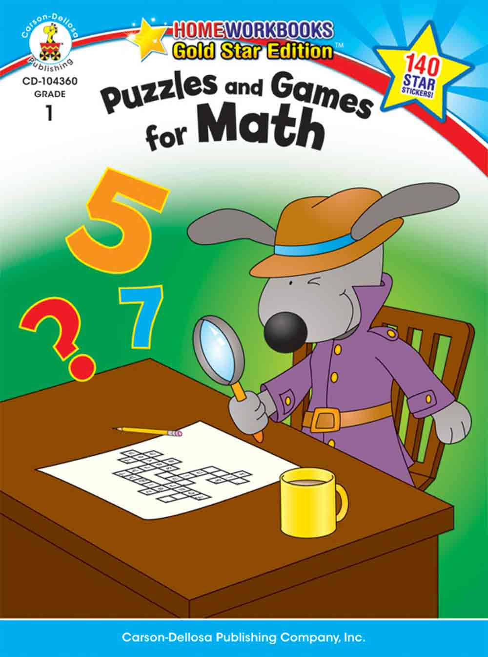 Puzzles and Games for Math Grade 1: Gold Star Edition - Carson-Dellosa Publishing