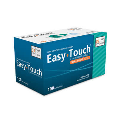Easy Touch Pen Needles - 32 Gauge, 4mm, 100ct