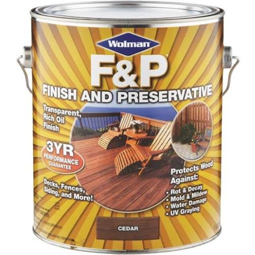 Wolman 14416 Exterior Wood Finish & Preservative - Cedar, Oil Based, 1gal