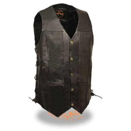Milwaukee Leather Mens Leather 10 Pocket Side Lace Vest - Tall, Black