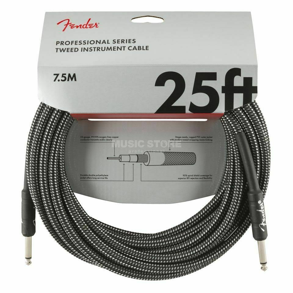 Fender Professional Series 25' Instrument Cable Gray Tweed