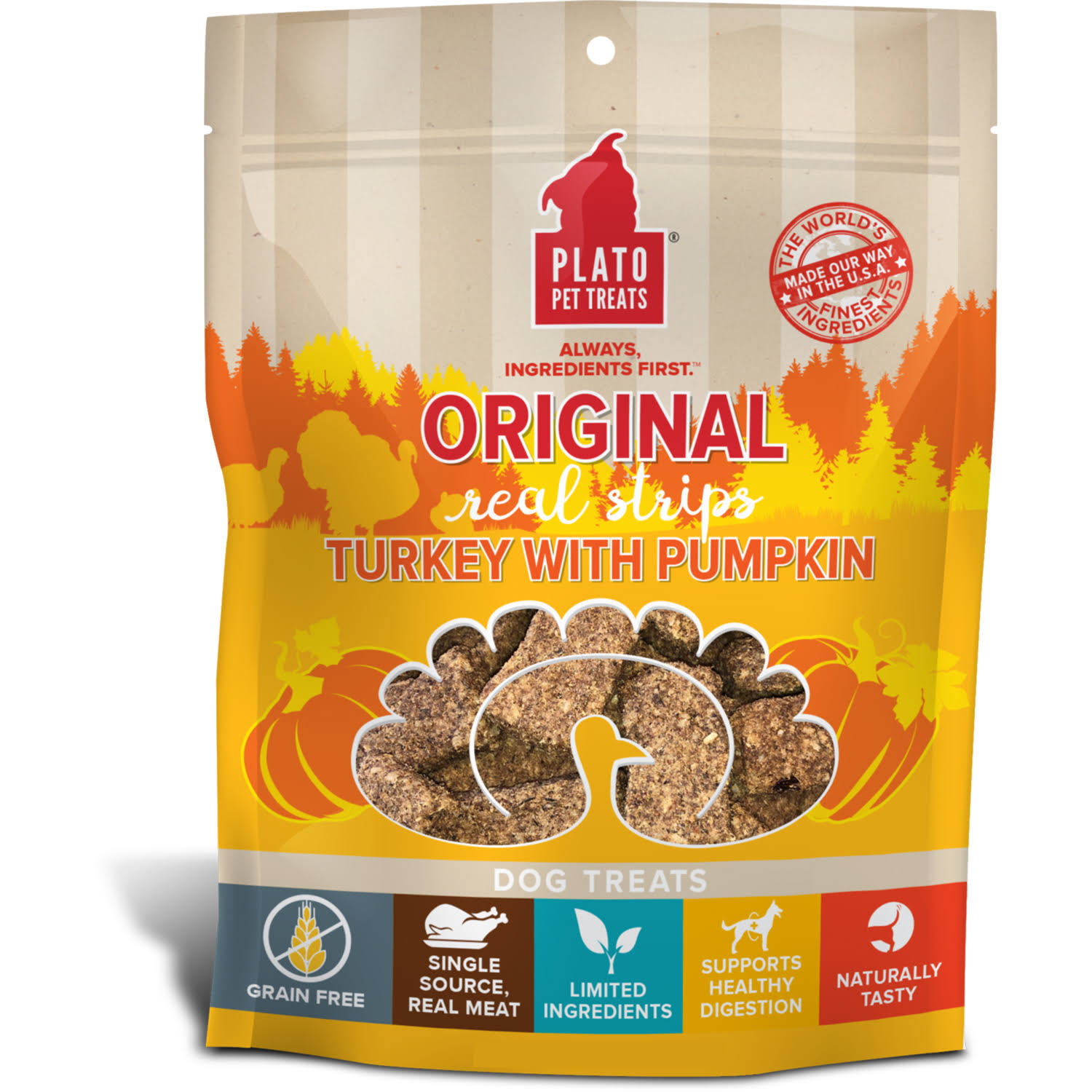Plato Real Strips Turkey with Pumpkin Dog Treats 18oz