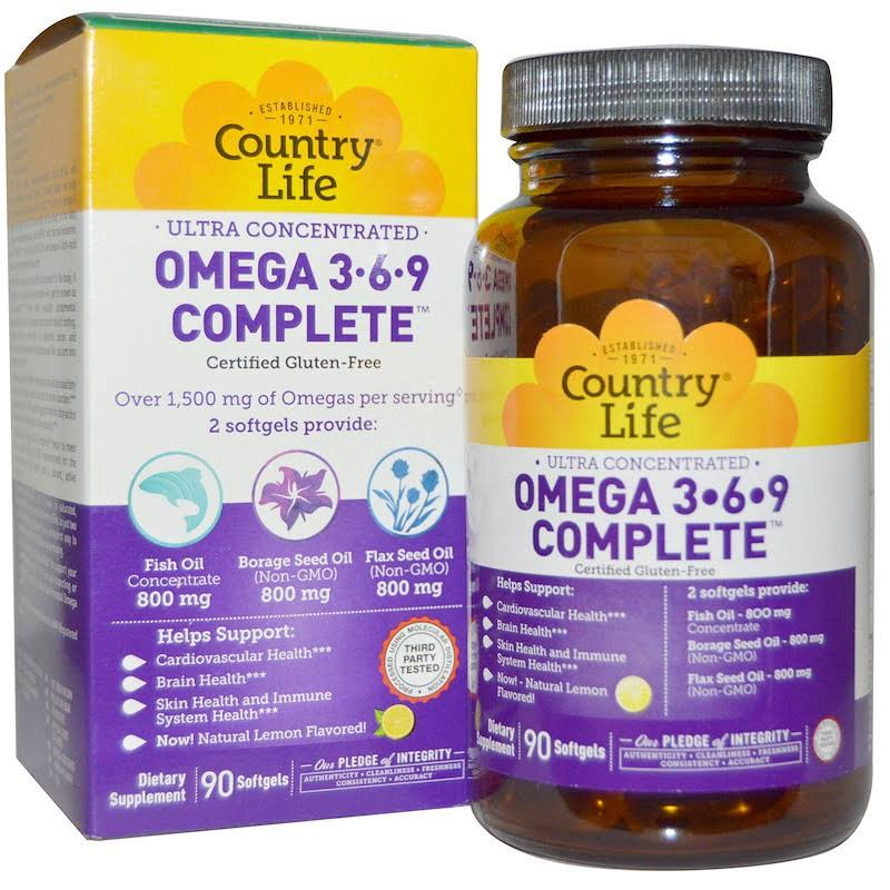 Country Life Ultra Concentrated Omega 3-6-9 Softgels - 90 Softgels
