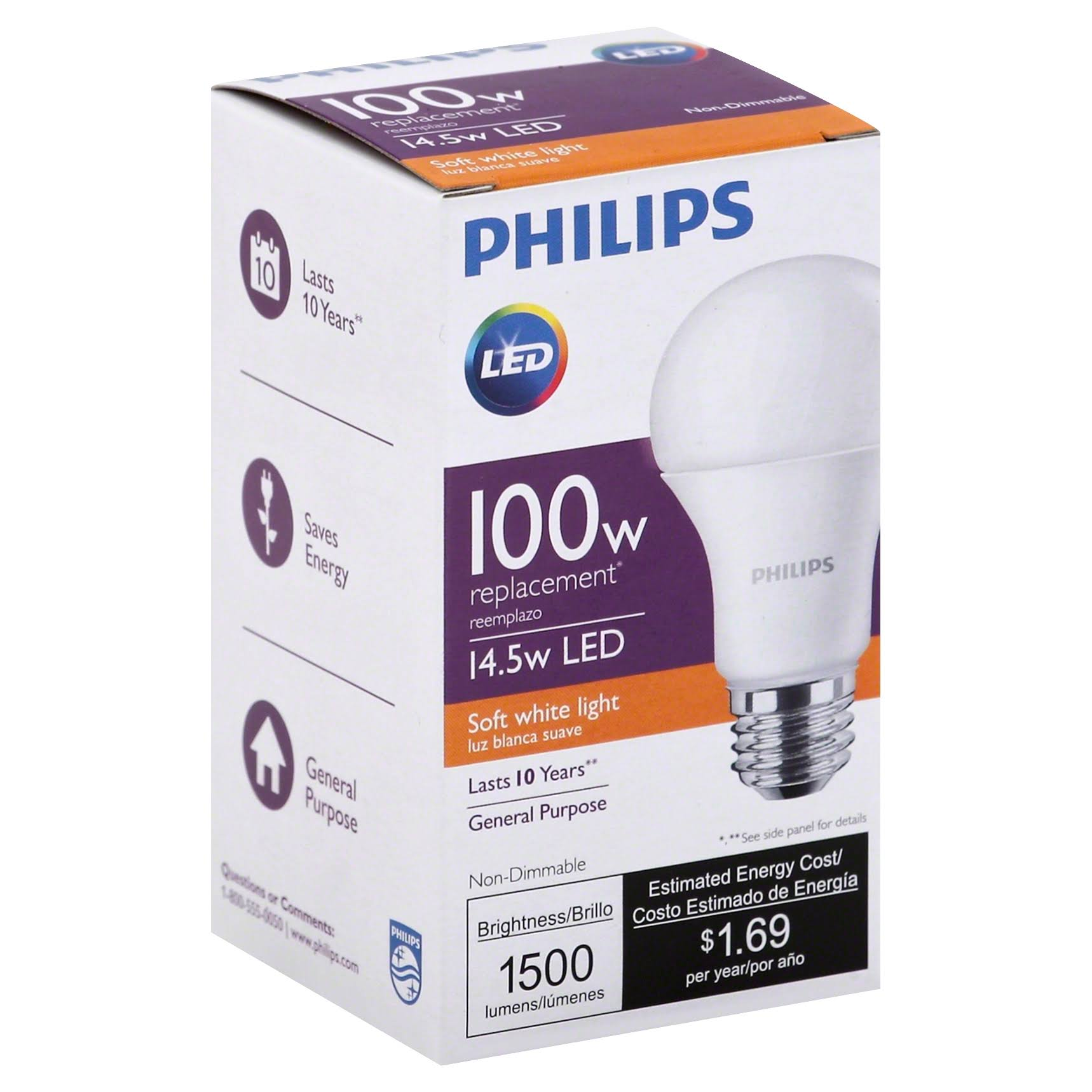 Philips Led Light Bulb - 14.5W, Soft White, A19