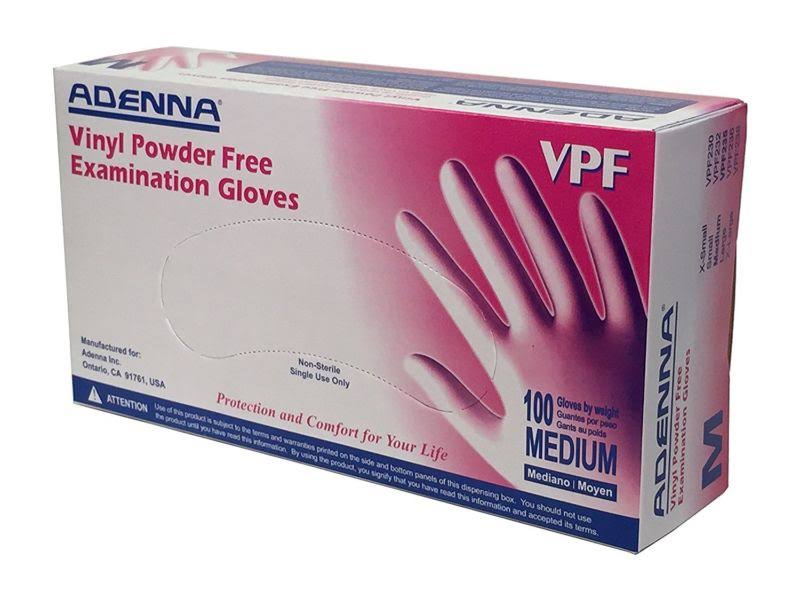 Adenna VPF Vinyl Powder Free Exam Gloves - Translucent, Medium, 100pcs