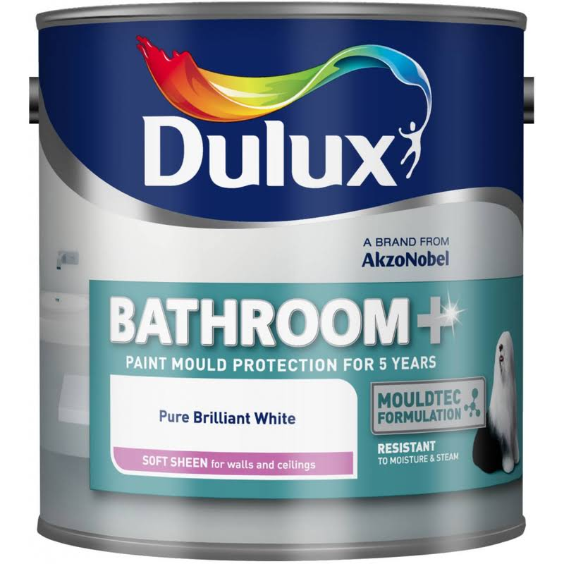 Dulux Bathroom + Soft Sheen Emulsion Paint - 1L, Pure Brilliant White