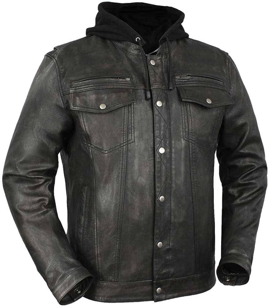 First Manufacturing Vendetta - Men's Leather Motorcycle Jacket Black