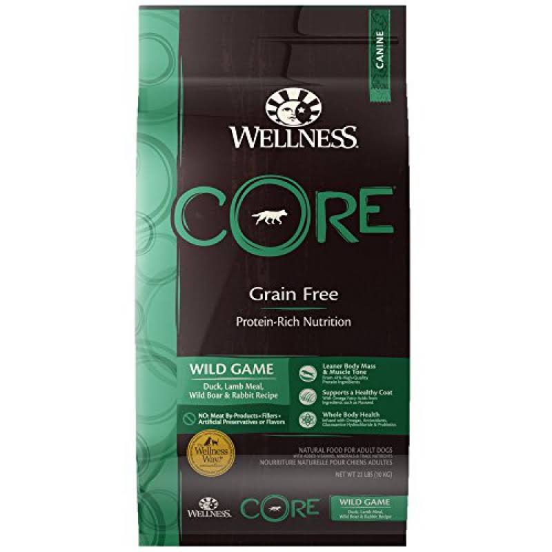 Wellness Core Dry Dog Food - Wild Game Formula, Duck Turkey Boar and Rabbit, 26lbs