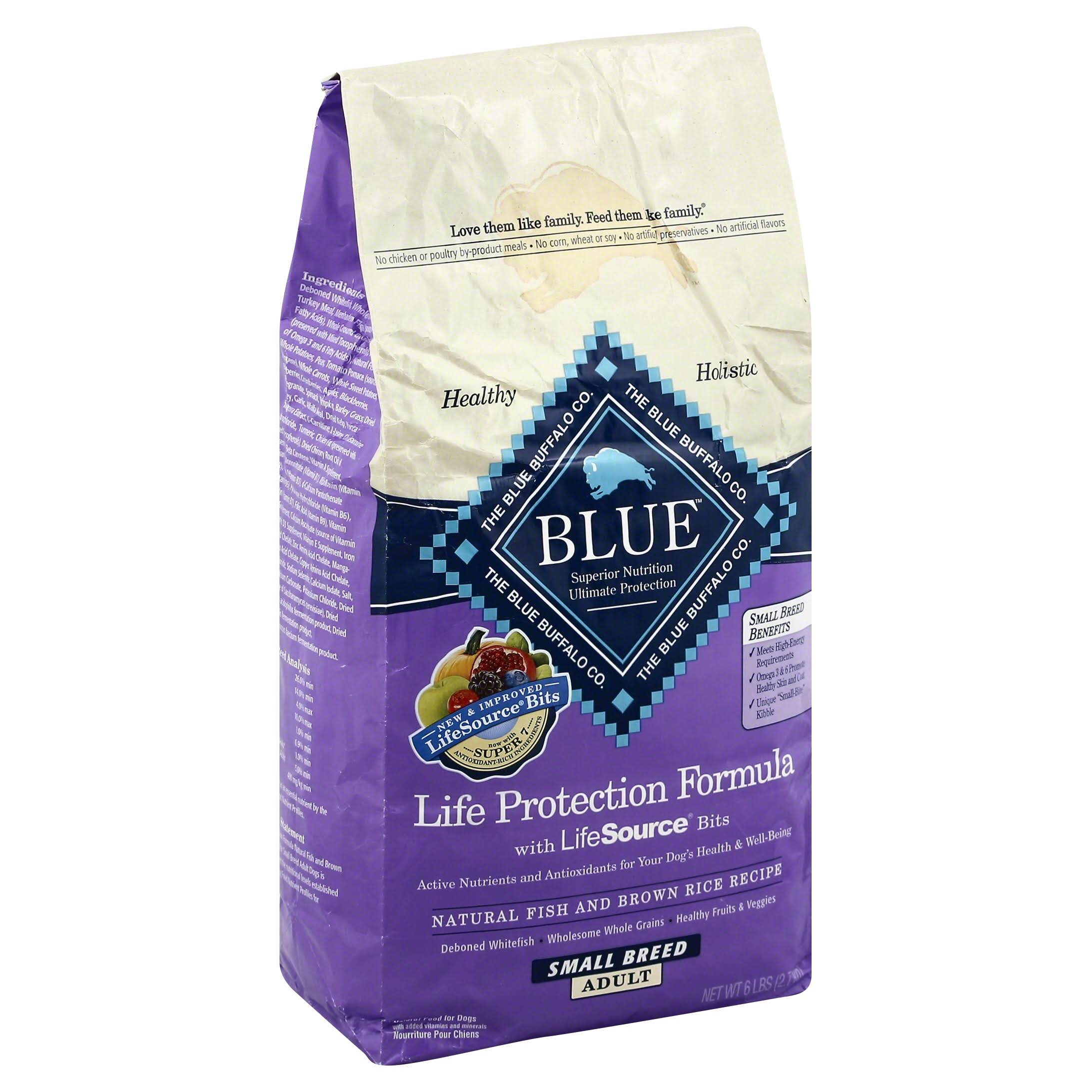 Blue Food for Dogs, Natural, Life Protection Formula, Small Breed, Adult, Natural Fish and Brown Rice Recipe - 6 lb
