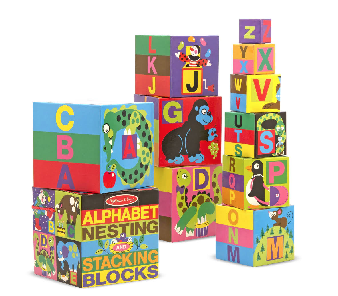 Melissa & Doug Alphabet Nesting and Stacking Blocks, Sturdy