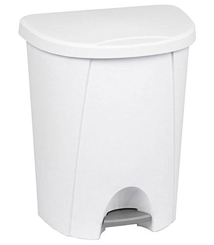 Sterilite Step on Wastebasket Can - White, 6.6 Gallon