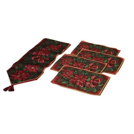 Gil Poinsettia Flowers Fabric Christmas Table Runner and Place Mats 5 Piece Set