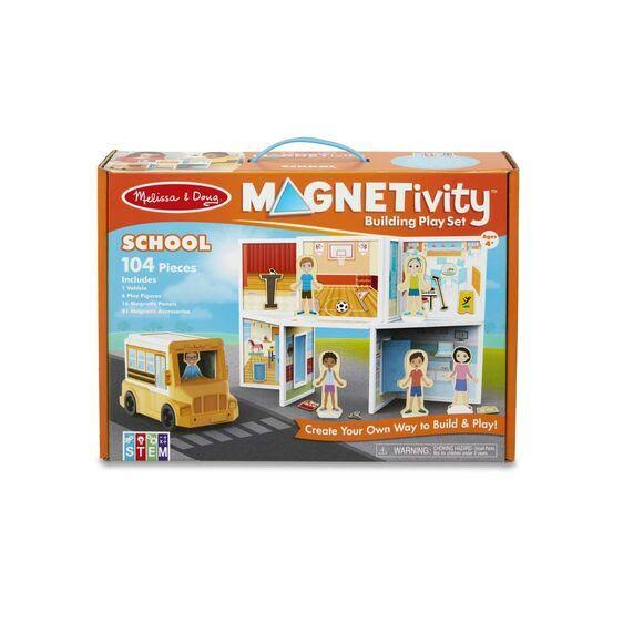Melissa & Doug Building Play Set School Magnetivity Magnetic