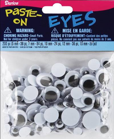 Darice Paste On Assorted Sizes Googly Eyes - Black/White, 200pcs