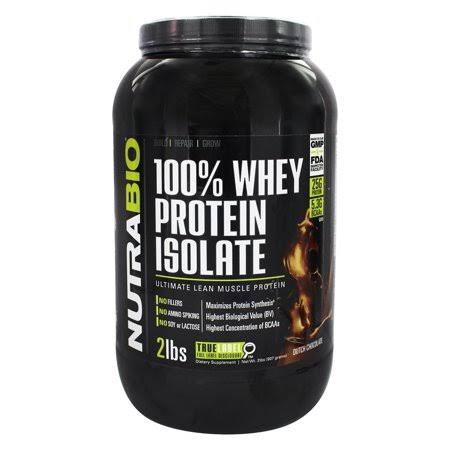 NutraBio 100% Whey Protein Isolate Supplement - 2lbs, Dutch Chocolate
