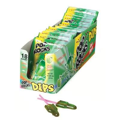 Pop Rocks Dips Candy - Sour Apple, 18 Count