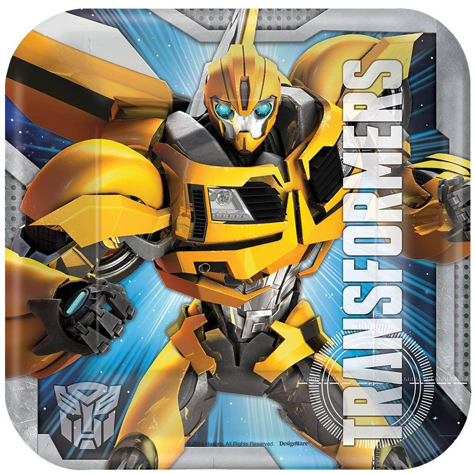 "Amscan Dessert Square Plates - Transformers, 7"", Pack of 48"