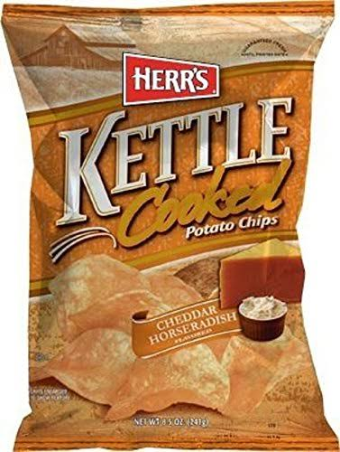 Herr's Kettle Cooked Potato Chips - Cheddar and Horseradish, 8oz