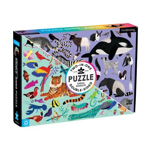 Animal Kingdom 100-Piece Double-Sided Puzzle - Mudpuppy