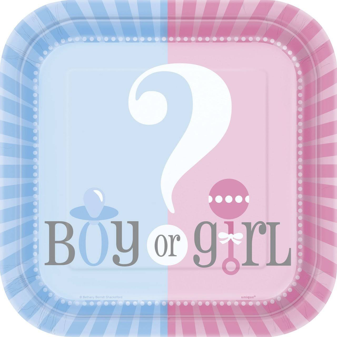 Unique Gender Reveal Girl or Boy Dessert Plates - Pink Blue, 7', 10ct