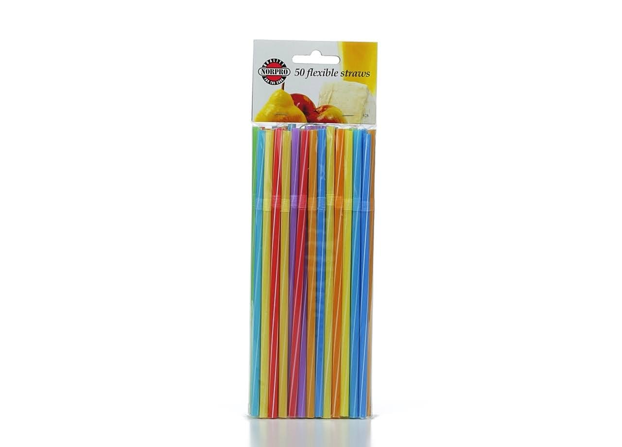 Norpro 428 Flexible Straws - Multicoloured, 50pk