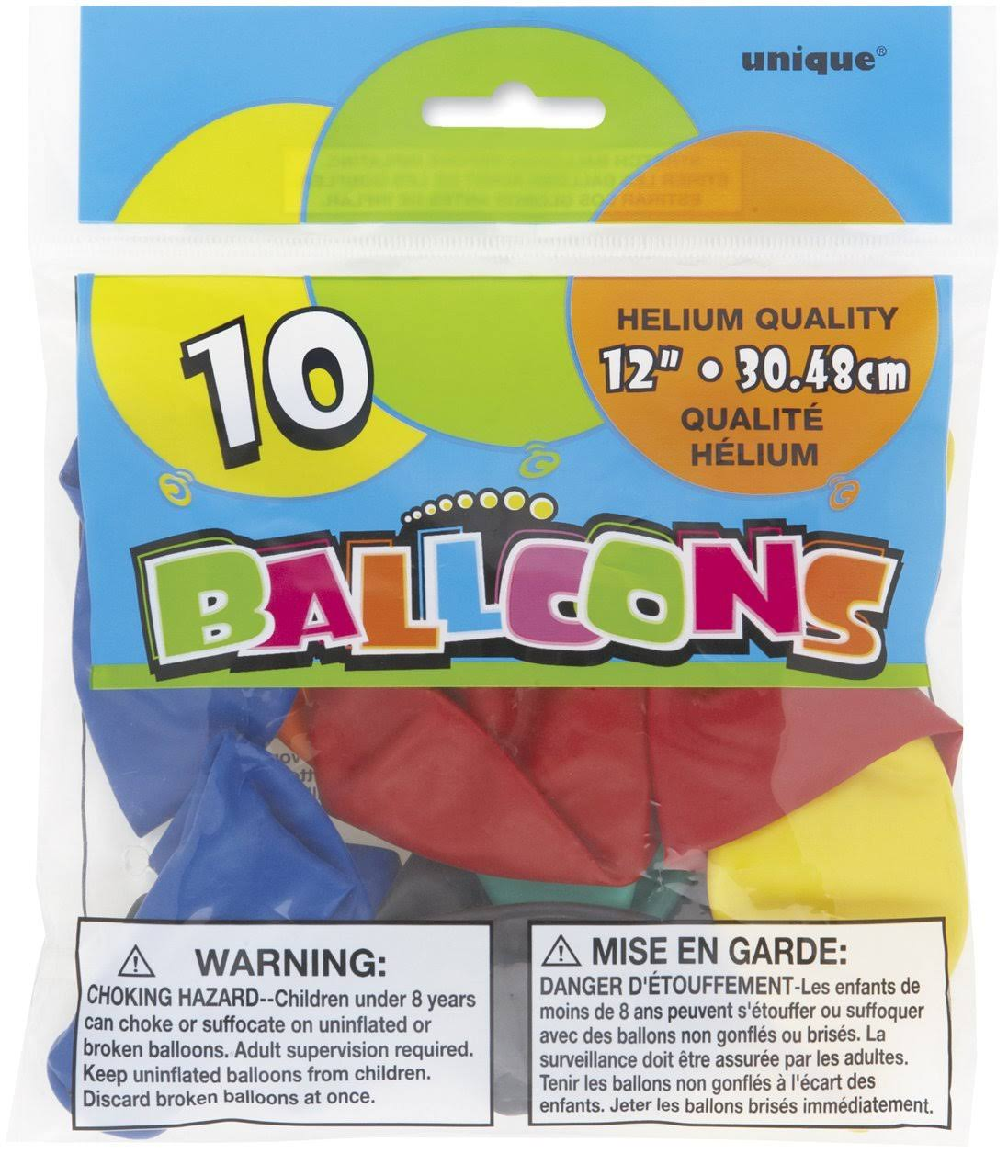 Unique Assorted Color Balloons - 10ct, 12""