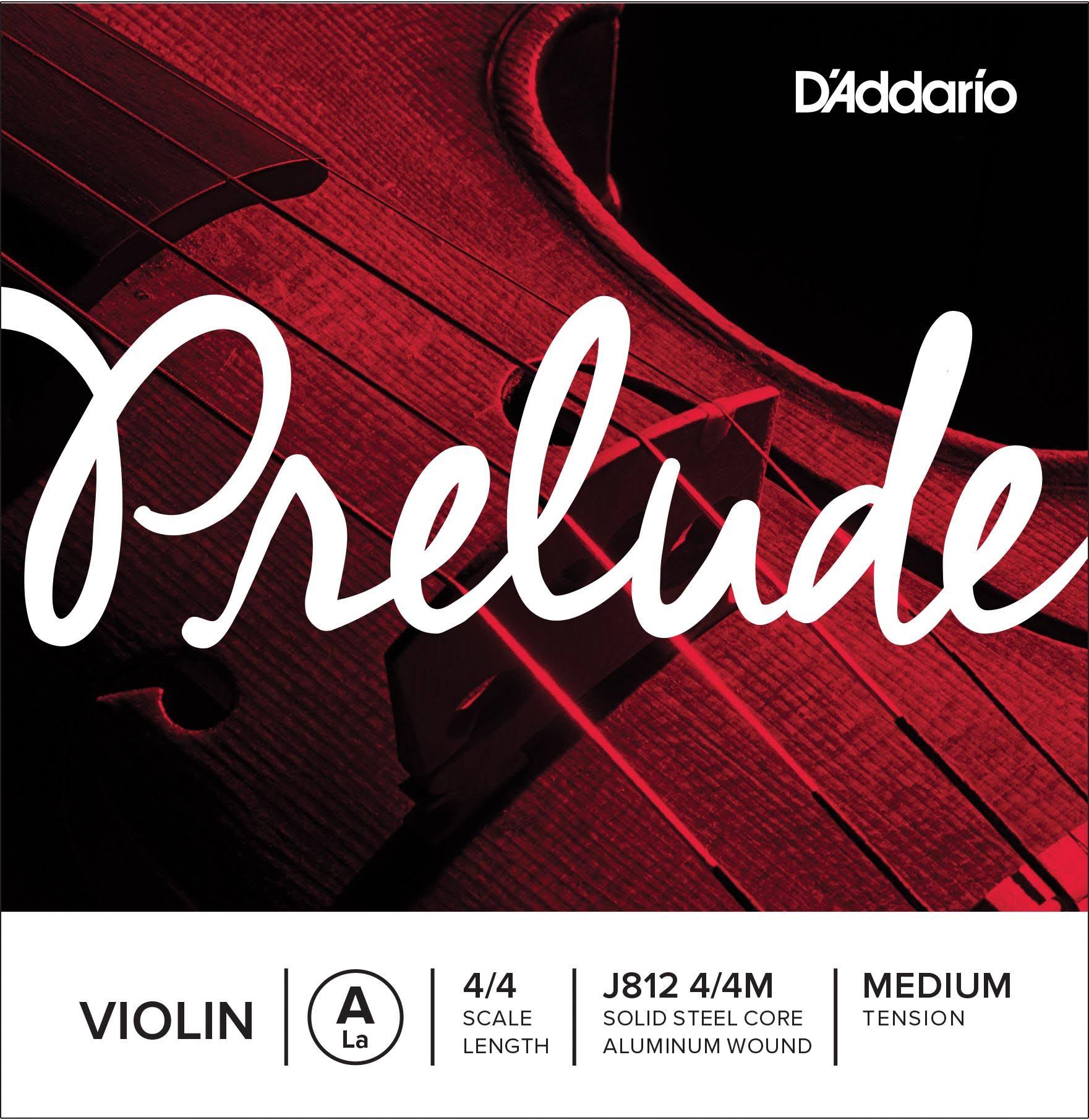 D'Addario J812 Prelude Violin A String Medium Scale 4/4