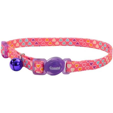Safe Cat Fashion Adjustable Breakaway Cat Collar, Multi-colored Hearts