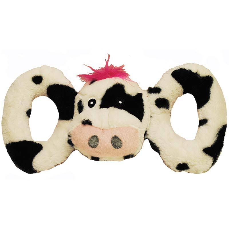 Jolly Pets Tug-a-mal Cow Squeaky Tug Toy for Dogs - Medium