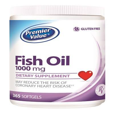 Premier Value Fish Oil Vitamin Supplement - 1000mg Softgels 365ct. Premier Value.