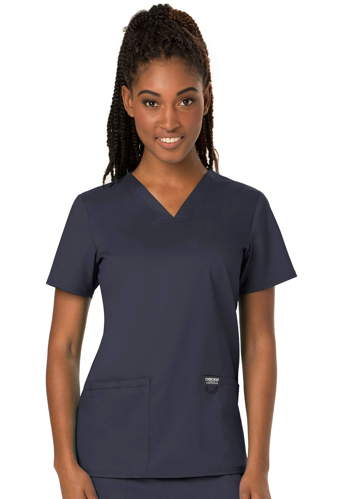 Cherokee Workwear Revolution V-Neck Scrub Top - M - Pewter