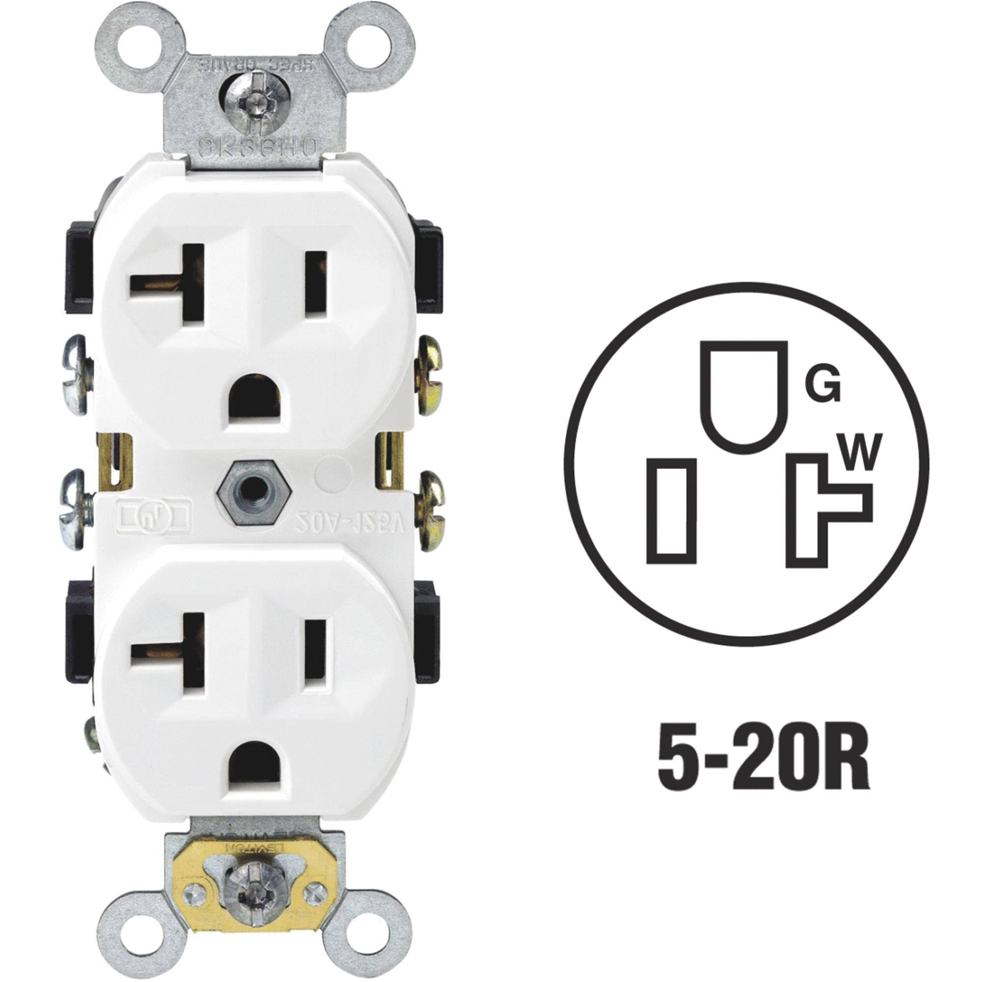 Leviton 2 Pole Duplex Outlet - White, 20amp