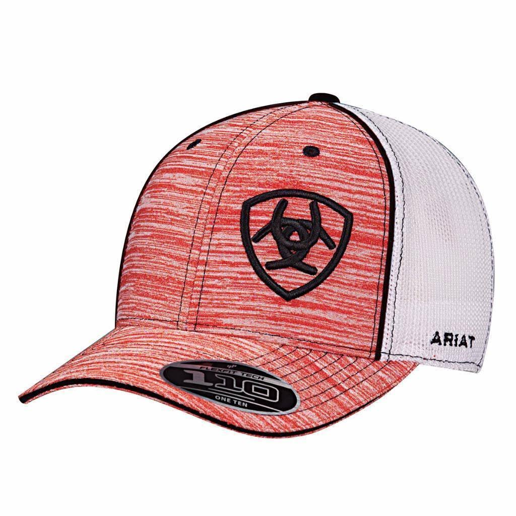 Ariat Men's Flexfit Mesh Logo Cap - Red Heather, One Size