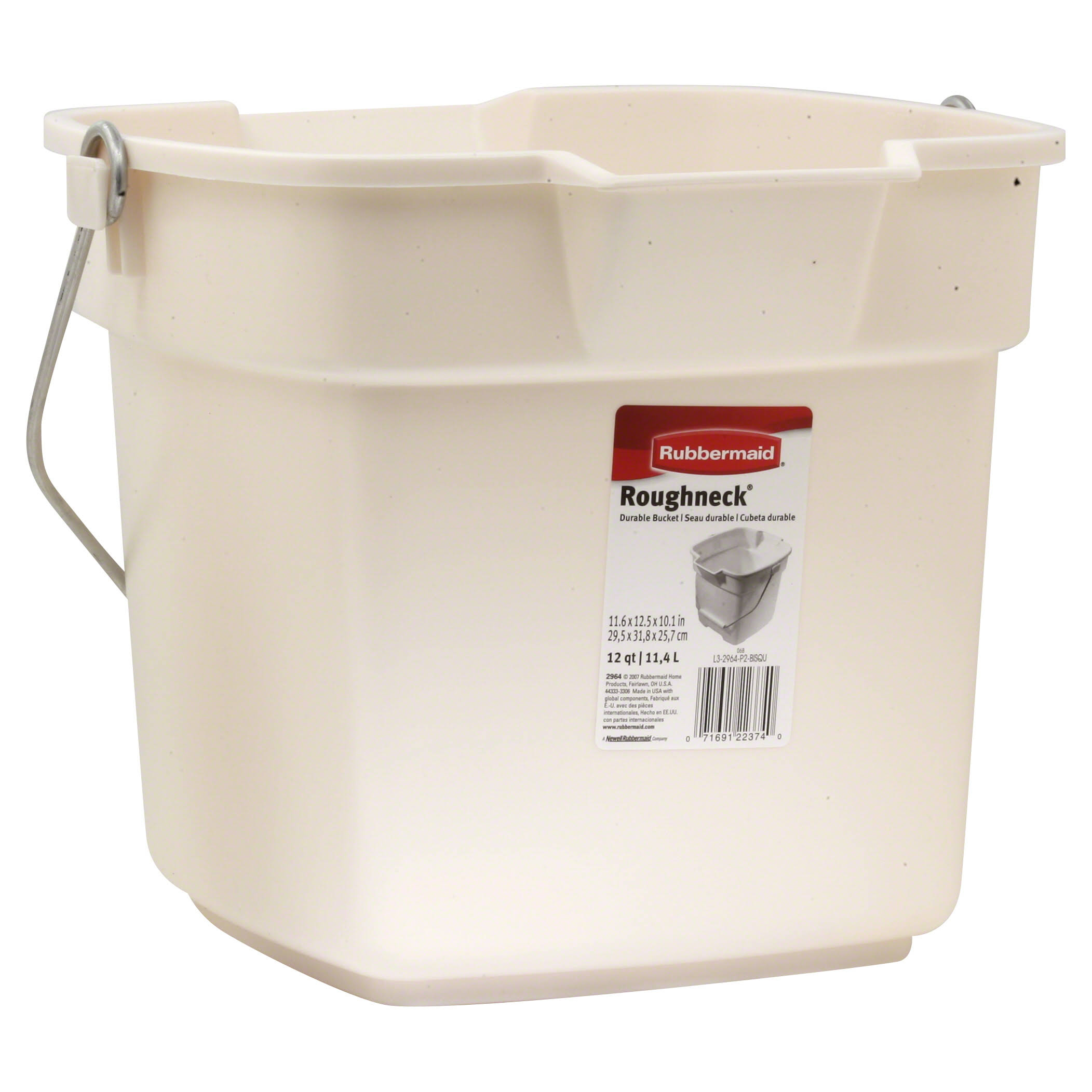 Rubbermaid 296400bisqu Roughneck Heavy Duty Utility Bucket - Bisque, 12qt